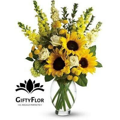 Rafaella | Arreglo con Girasoles y flores de estación en florero | Giftyflor
