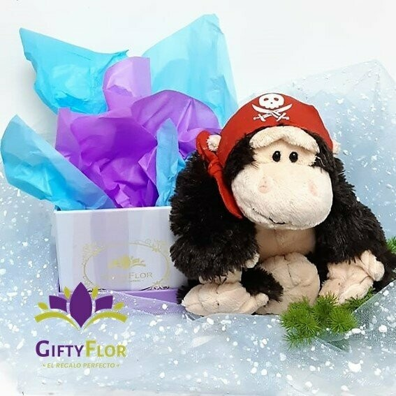 Mono Pirata muñeco de peluche en caja de regalo
