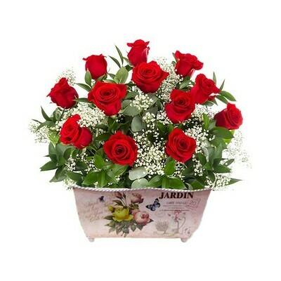 Ronda | 14 Rosas en jardinera Vintage