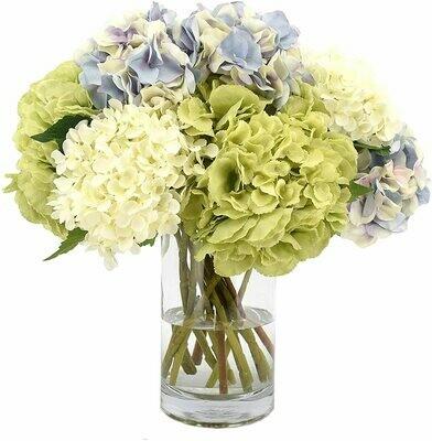 Daswood Ramo de hortensias de Colores en florero
