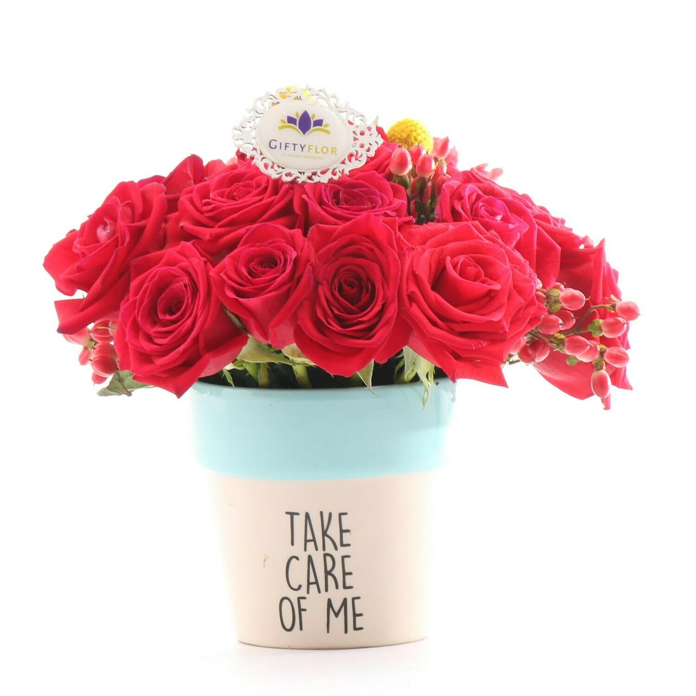 Friendly Arreglo de rosas Rojas en macetero ceramico