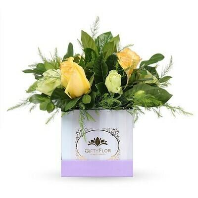 Dilán | Arreglo de Rosas amarillas en caja | Giftyflor