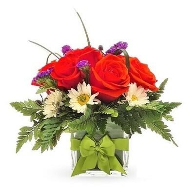 Lissy | Rosas Rojas en florero cuadrado