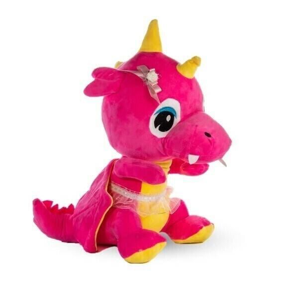 Dragona de peluche color rosado en caja de regalo