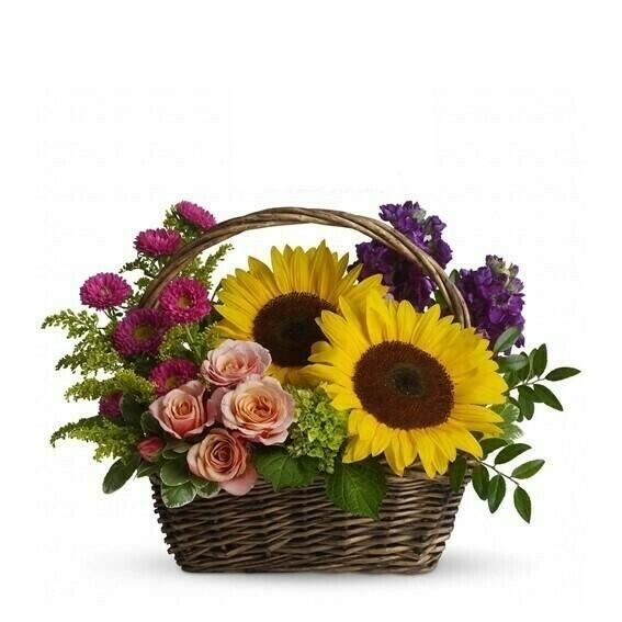 Jul Arreglo de Girasoles Rosas y Flores en Canasta