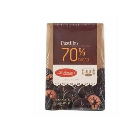Chocolates LA IBERICA Pastillas 70% Cacao Caja 150g