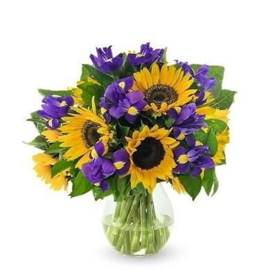Sunny Day Ramo Girasoles e Iris en florero