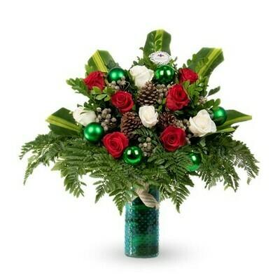 San Nicolás Arreglo de rosas para Navidad