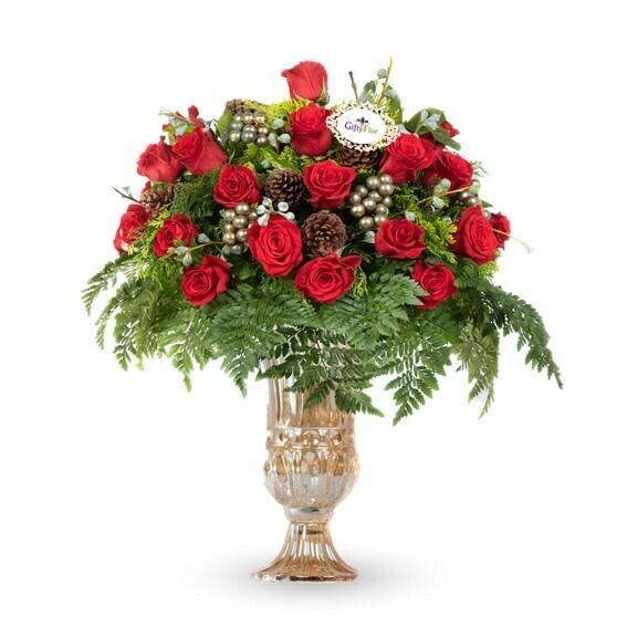 Dulce Navidad Arreglo Navideño en florero ámbar