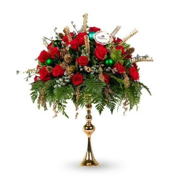 Canto de Navidad Arreglo Navideño de Rosas Rojas