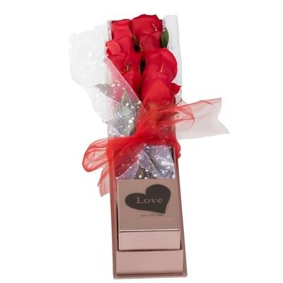 Box de 8 rosas rojas en caja acrílica de lujo
