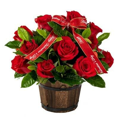 Ágape | Arreglo de 12 rosas rojas en barrilito