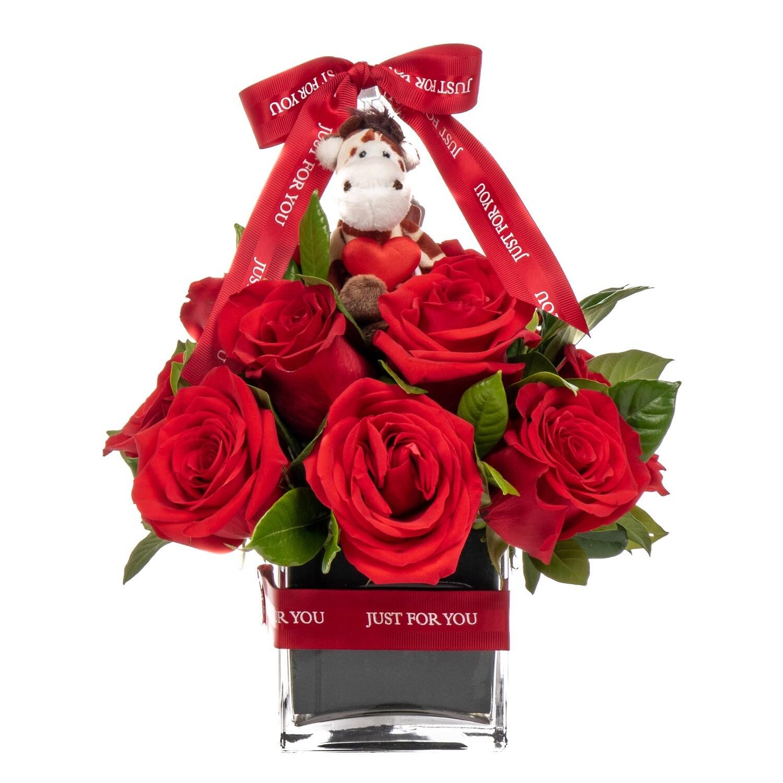 Mishka Arreglo con rosas y llavero de animales