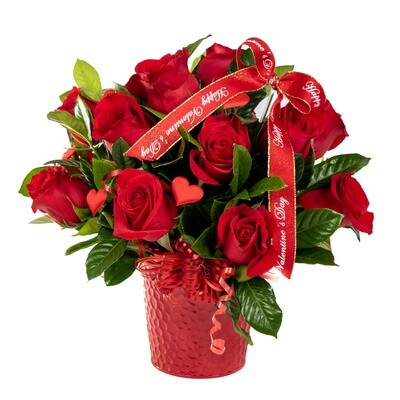 Maille | Arreglo con rosas en balde de metal