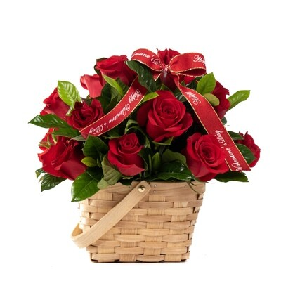 Bachert | Arreglo con 10 Rosas en canasta de lujo