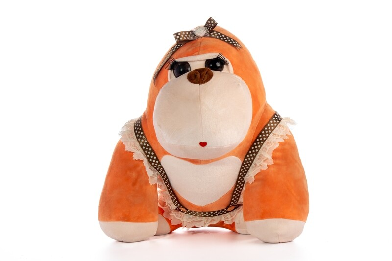 Peluche Gorila naranja en caja de regalo