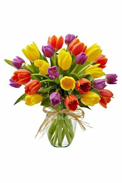 Arreglo de tulipanes multicolor en florero