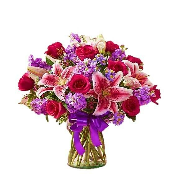 Red Love Lirios Rosas y margaritas en florero