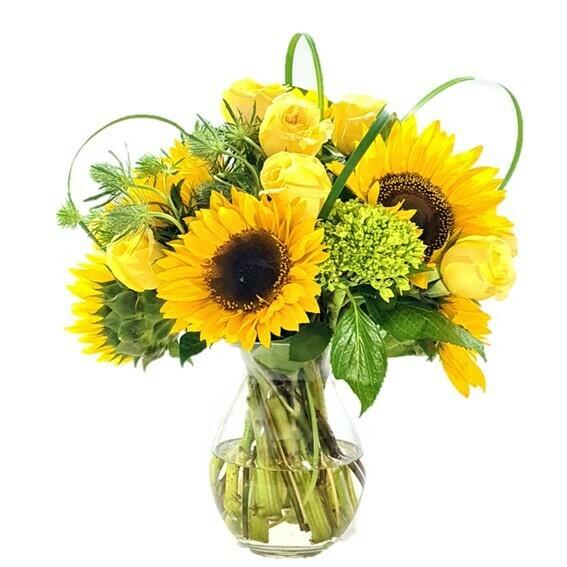 Best Friend Girasoles y Rosas Amarillas en florero