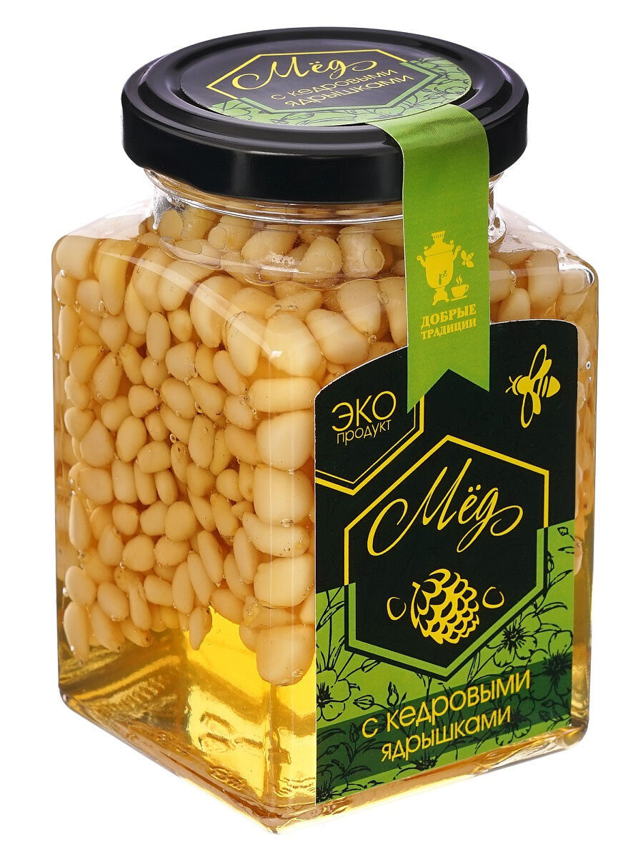 """Мёд с кедровыми орешками """"Добрые традиции"""" (300 гр.)"""
