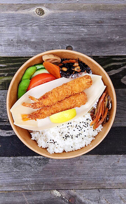 Ebi Fry Bento with Miso soup エビフ弁 味噌汁