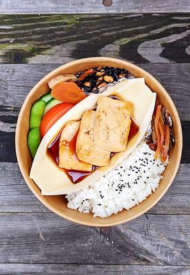 Tofu Teriyaki Bento with Miso soup 豆腐テリ弁 味噌汁