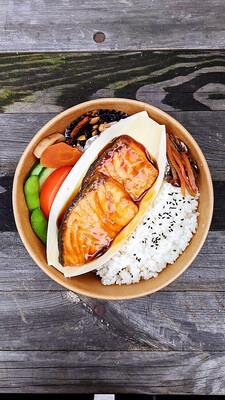 Sake Teriyaki Bento with Miso soup 鮭テリ弁 味噌汁
