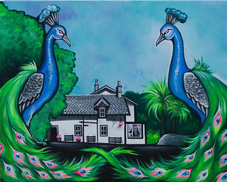 Lagg Hotel Peacocks Fine Art Print