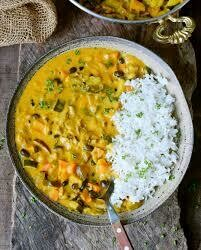 Vegetable curry with steamed rice - 1 litre