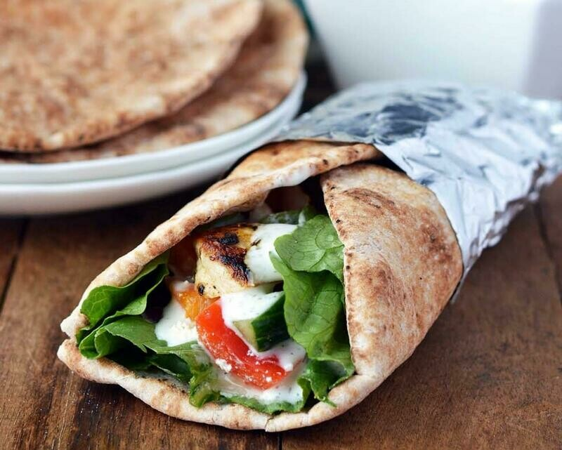 Chicken Souvlaki on a Pita