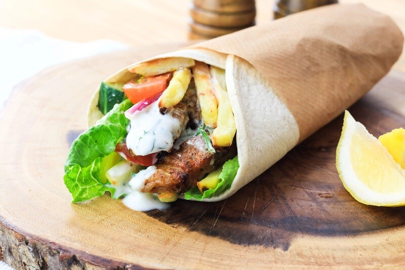 Pork Souvlaki on a Pita