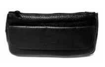 Brigham Italian Leather 1-Pipe and Tobacco Case Black
