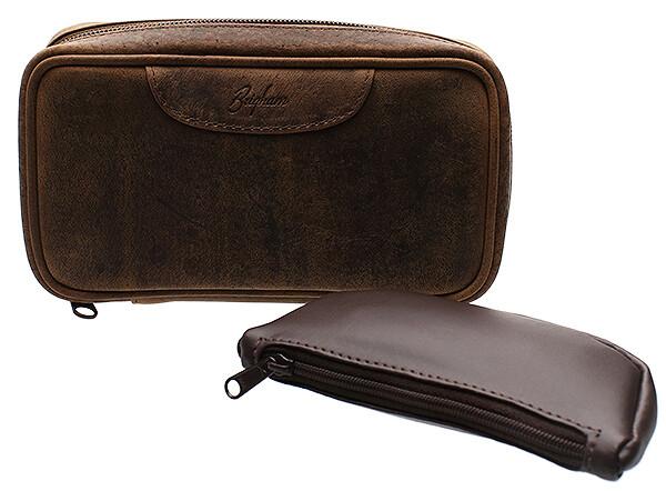 Brigham 2 Pipe Case Vintage Brown