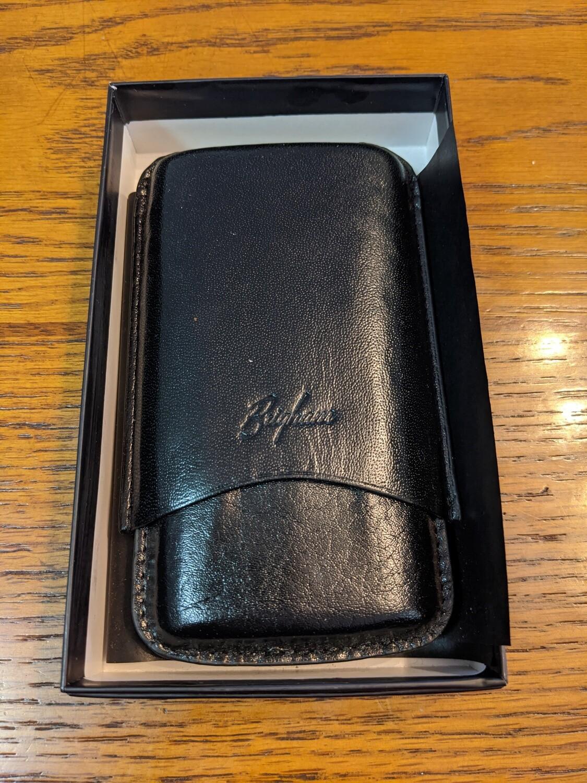 Brigham Leather 3 Finger Cigar Case Black Robusto