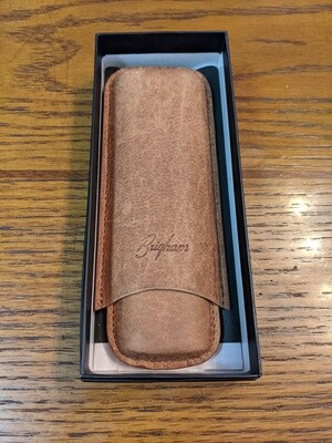 Brigham Leather 2 Finger Cigar Case Brown Corona