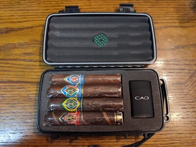 CAO World Travel Humidor Gift Set 4 Cigar Sampler
