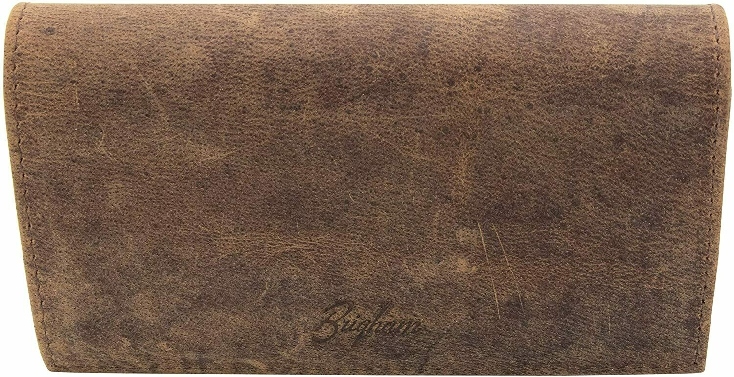 Brigham Vintage Leather Roll Up Tobacco Pouch
