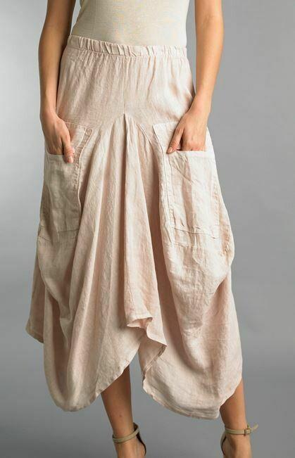Paris Tempo Blush Linen Bubble Skirt 100% linen