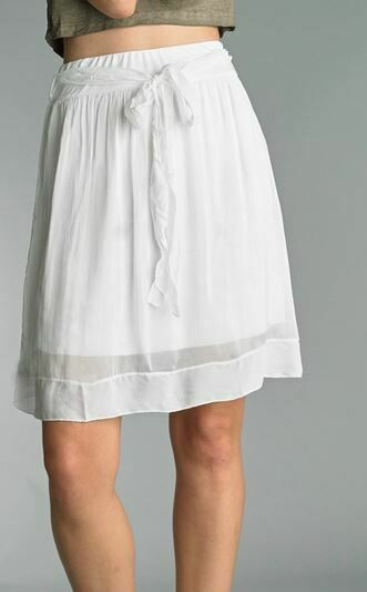 PT White Silk short Skirt with tie