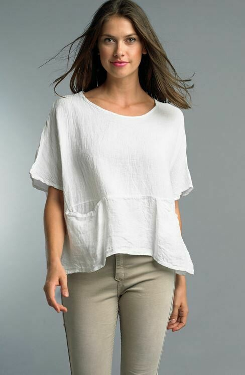 PT White Linen top with front pockets