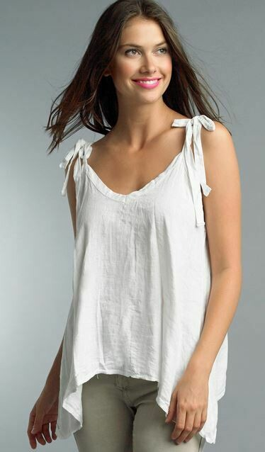 PT White Linen tank with tie