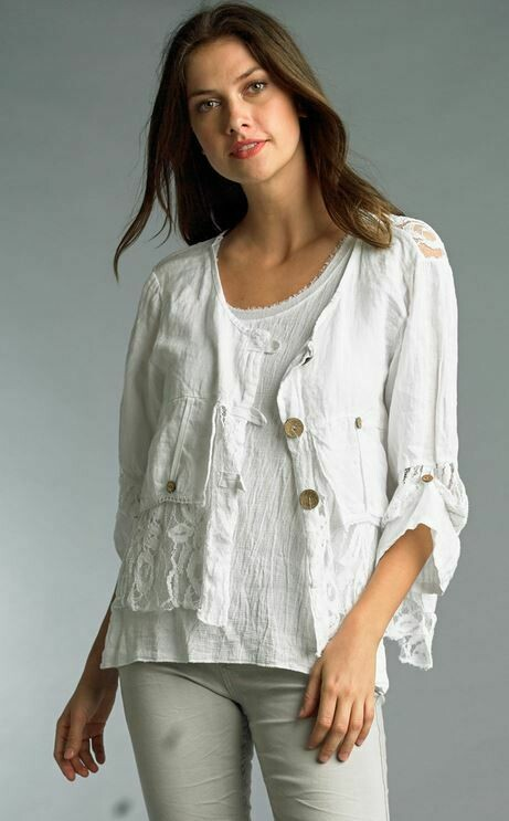PT White Linen Jacket with lace