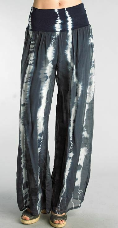 PT Navy Tie Dye Silk Palazzo pants
