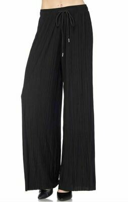 MS Pleated wide leg  black pant