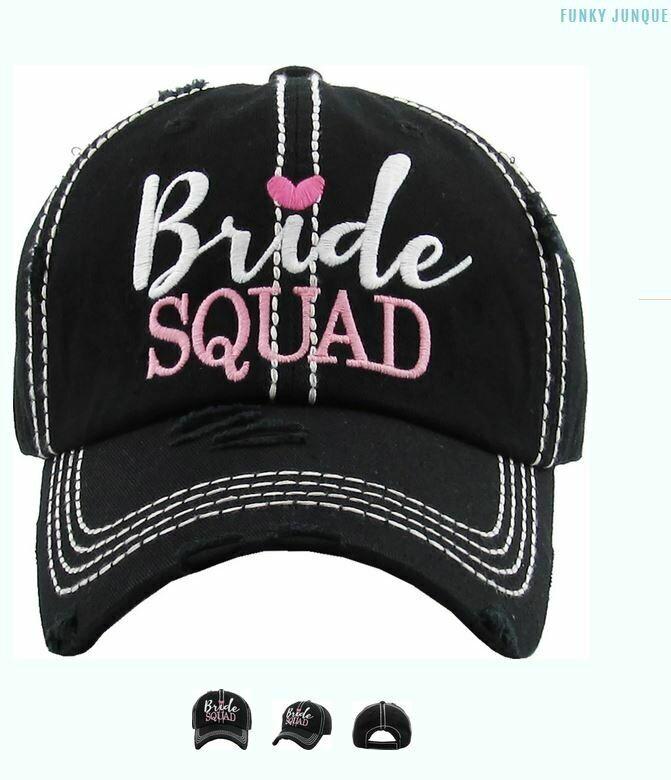 Distressed Bridal Baseball Cap - Bride Squad - BLACK