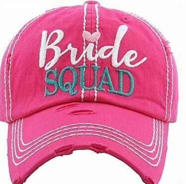 Bride Squad Vintage Style Hat Hot Pink Baseball Cap