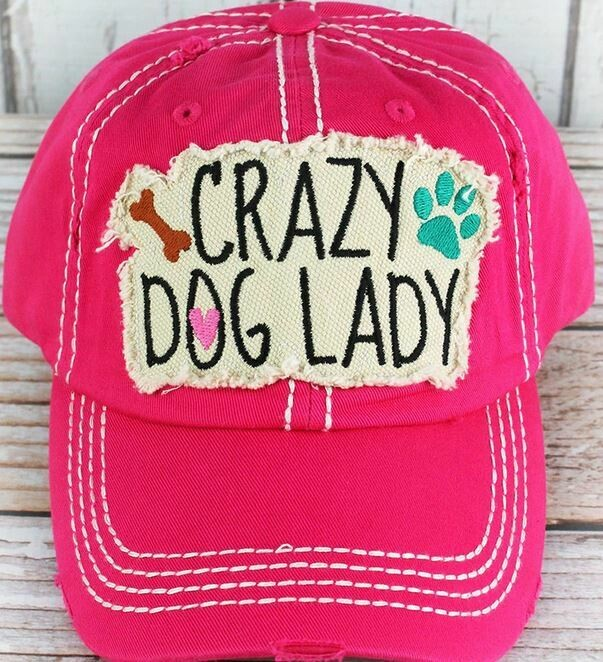 "hot pink ""crazy dog lady"" hat"