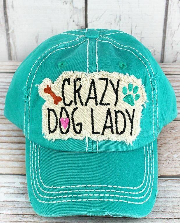 """Turquoise """"Crazy Dog Lady"""" hat"""