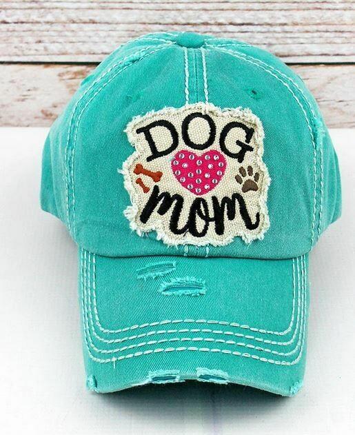 Turquoise Rhinestone Dog Mom