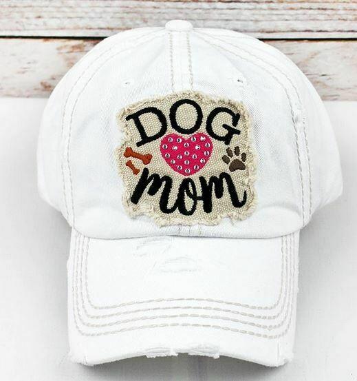 White Rhinestone Dog Mom